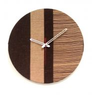 Brown Stripe Fabric Clock