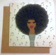 Afro Singer Greeting Card
